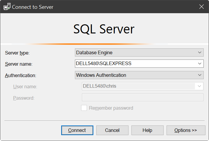 Microsoft SQL Server - Microsoft SQL Server Management Studio - Connect to Server dialog box